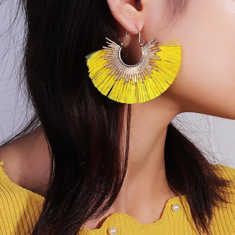 Fashion alloy fan-shaped tassel earrings NHNZ151387