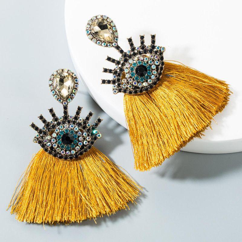 Fashion Diamond Eye Fan Fringe Earrings NHLN151430