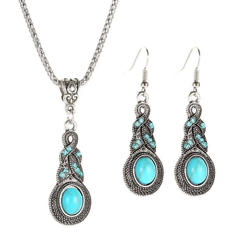 New retro pattern blue crystal inlaid turquoise earrings necklace set NHDP151437