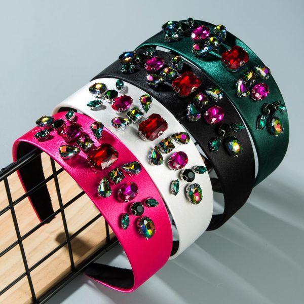 Super flash rhinestone handmade satin wide headband NHLN151470