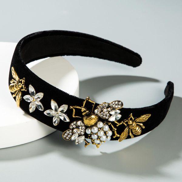 Diadema de perlas de terciopelo dorado de abeja de moda NHLN151479