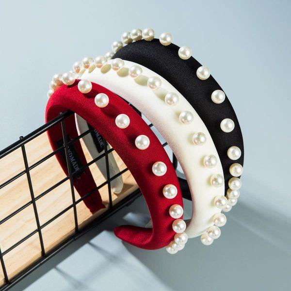 Solid color sponge pearl headband NHLN151484