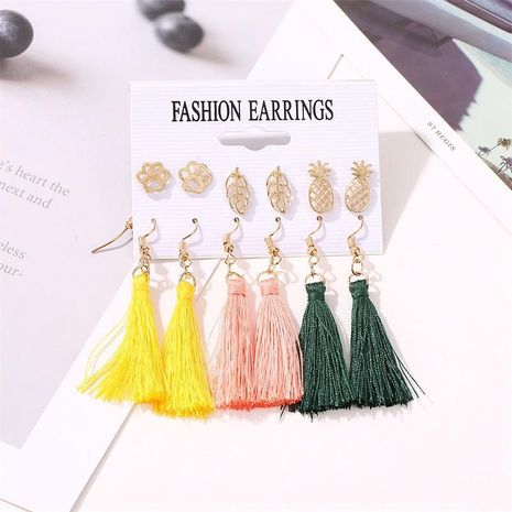 Fashion Cat Claw Leaf Pineapple Tassel Earring Set NHDP151500's discount tags