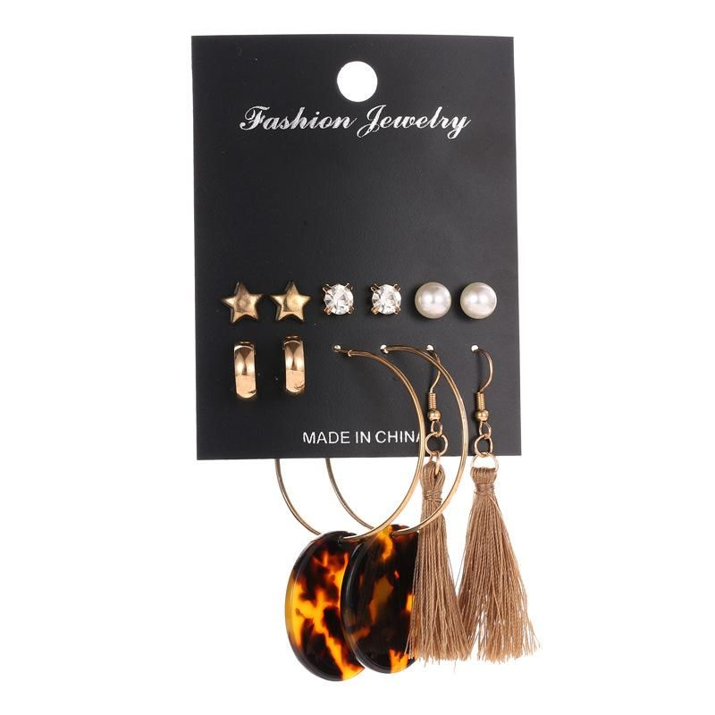 Circle Leopard Fringe Pearl Pentagram Earring Set NHDP151501