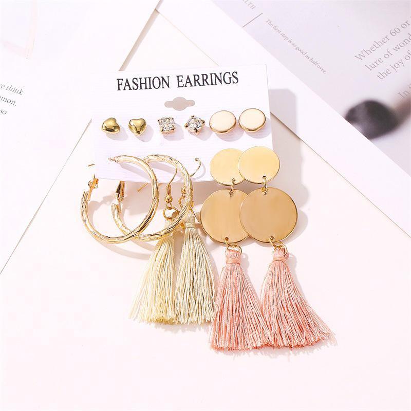 Fashion tassel geometric love earrings set NHDP151503