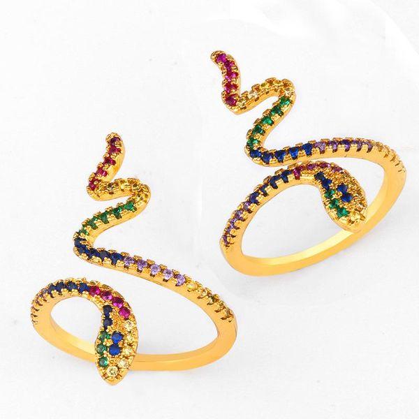 Colored serpentine copper inlay zircon ring NHAS151505
