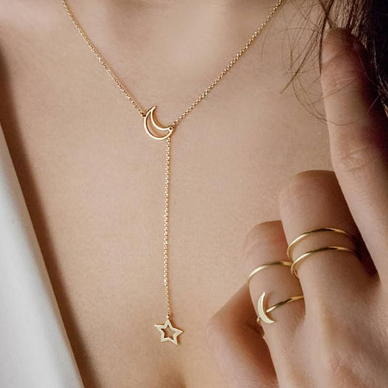 Simple Alloy Moon Star Gold Necklace NHPF151506