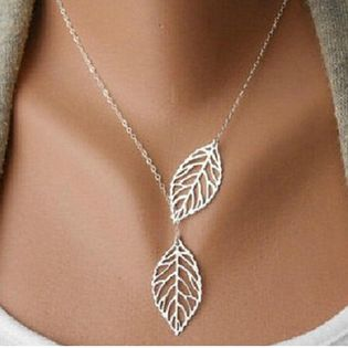 Metal double leaf necklace NHPF151508