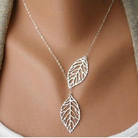 Metal double leaf necklace NHPF151508's discount tags