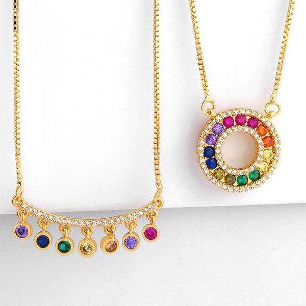 Copper inlay zircon color geometric round bend necklace NHAS151511