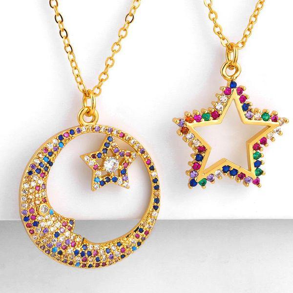 New star moon copper inlaid zircon necklace NHAS151512