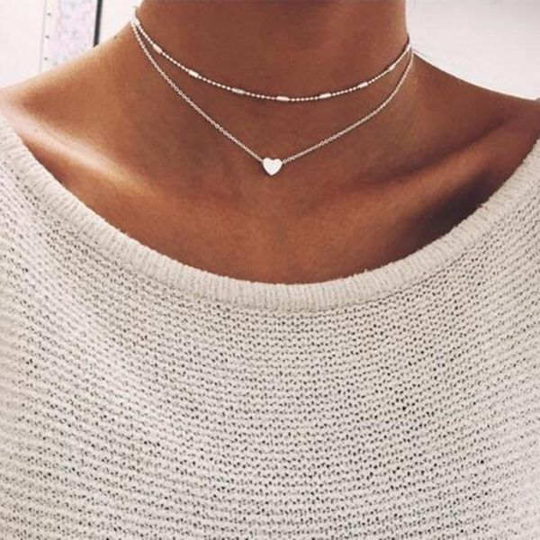 Simple alloy heart-shaped necklace NHPF151523