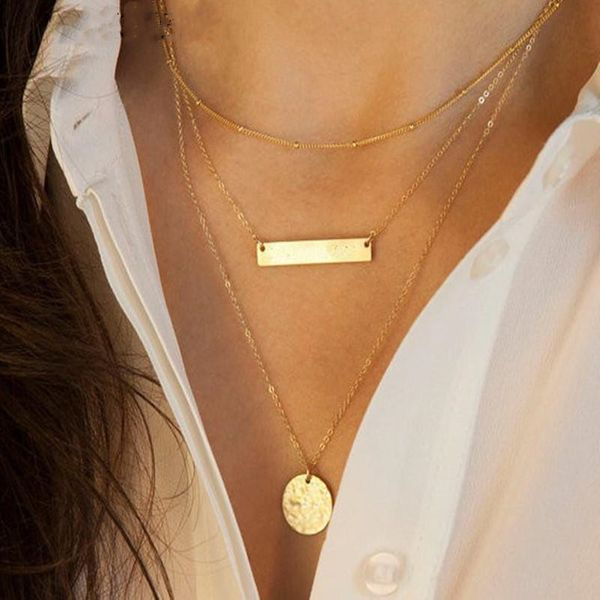 Simple metal alloy multi-layer geometry round necklace NHPF151528