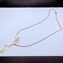 Metal double leaf necklace NHPF151508