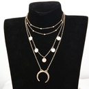 New round moon pendant multilayer bead necklace NHPF151526