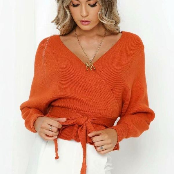 V-neck sweater women's sweater before and after autumn NHAM151538