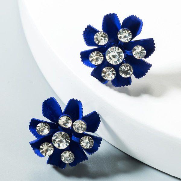 Fashion multi-layer flower rhinestone earrings NHLN151552