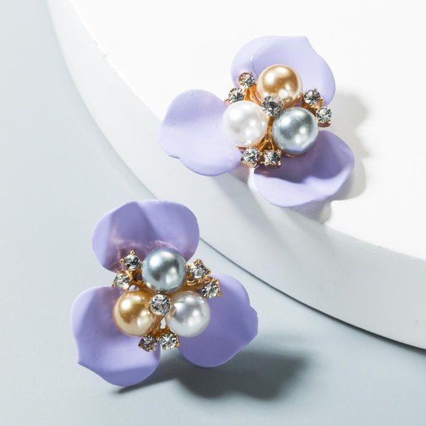 Womens Floral Paint Alloy Earrings NHLN151561