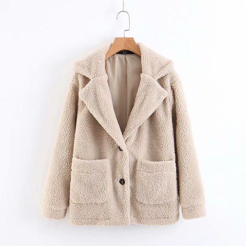 Solid color double pocket imitation wool coat jacket NHAM151563