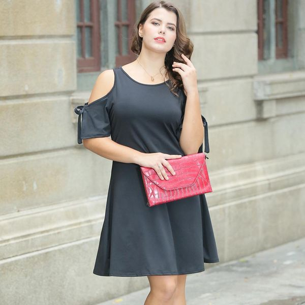 Knitted off-the-shoulder European and American large size  fat mm dress NHDF151567