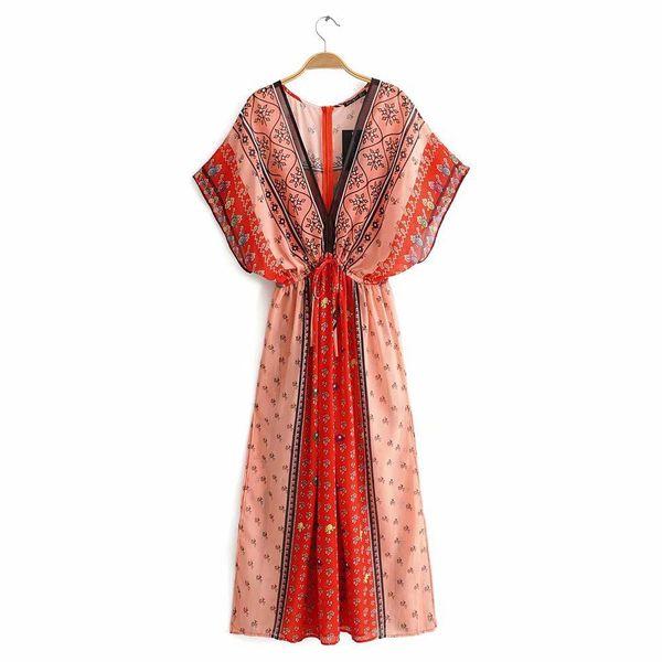 Bohemian V-neck printed split dress NHAM151579