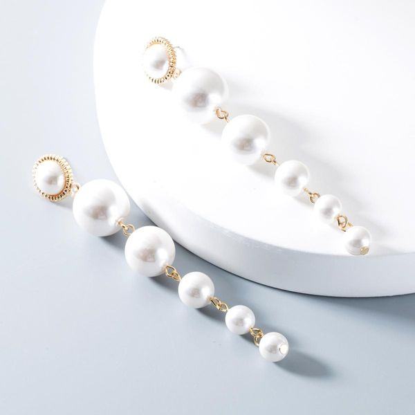 Fashionable temperament wild long size imitation pearl earrings NHLN151576
