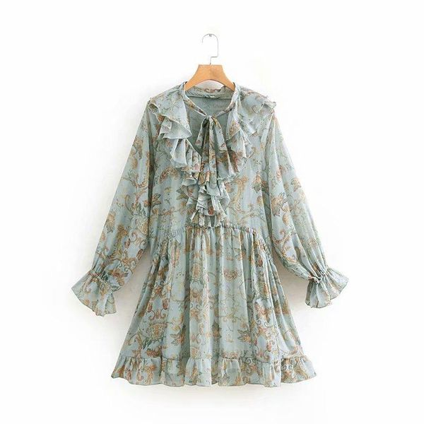 Spring print ruffled long-sleeved dress two-piece suit NHAM151608
