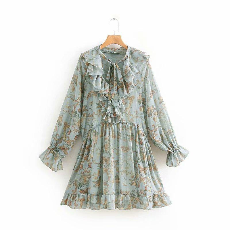 Spring print ruffled long-sleeved dress two-piece suit NHAM151608