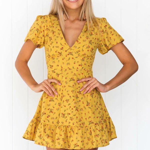 Autumn Floral Vintage Dress NHAM151629