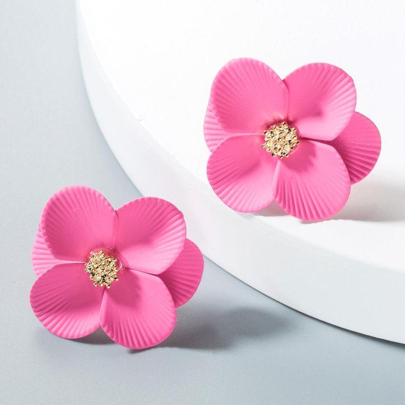 Womens Floral Paint Alloy Earrings NHLN151630