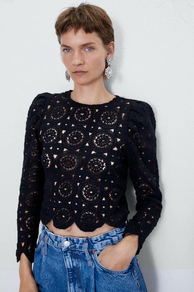 Loose sleeve texture  lace shirt NHAM151648