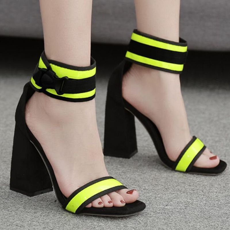 European and American candy color matching thick with high-heeled fluorescent sandals NHSO151720