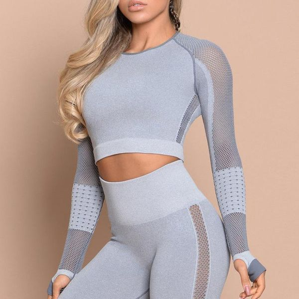 Hollow mesh tight-fitting sports long-sleeved fitness yoga clothes breathable T-shirt NHMA151768