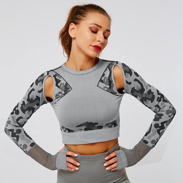 Camouflage Seamless Tight Long Sleeve Fitness Yoga T-shirt NHMA151769
