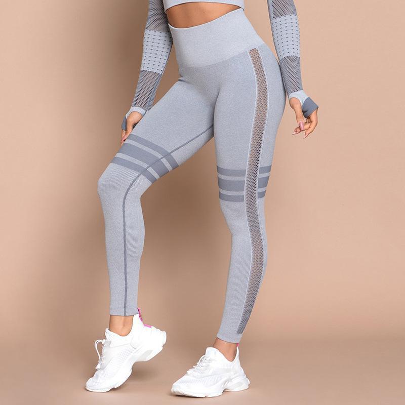 Casual cintura alta cadera pantalones deportivos al aire libre mujeres leggings NHMA151780