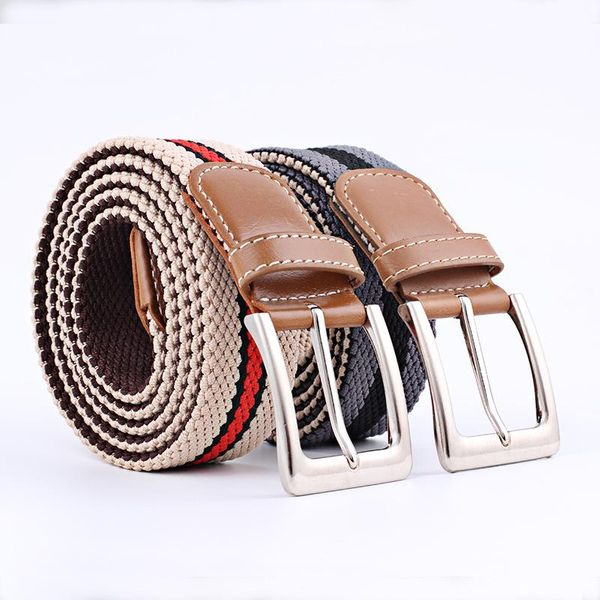 Colorful canvas woven metal pin buckle belt NHPO151789