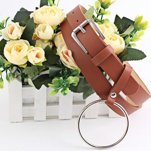 Round hanging metal buckle women's belt NHPO151790's discount tags