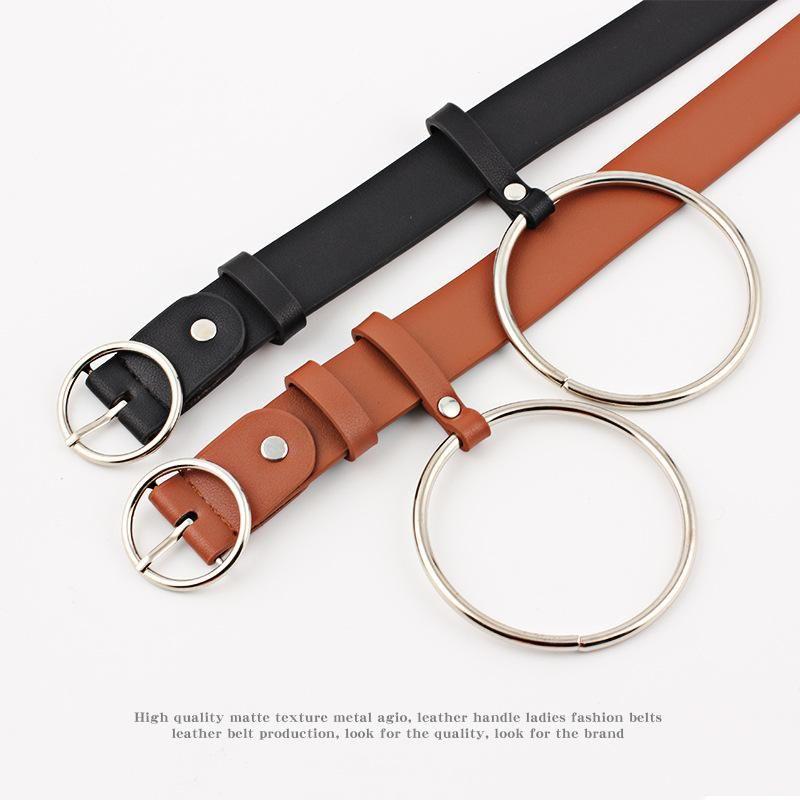 Nuevo cinturón grande plateado de metal con hebilla redonda NHPO151792