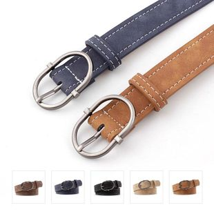 Fashion matte leather oval metal buckle women belts NHPO151798's discount tags