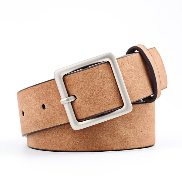 Fashion square metal buckle PU women belt NHPO151802