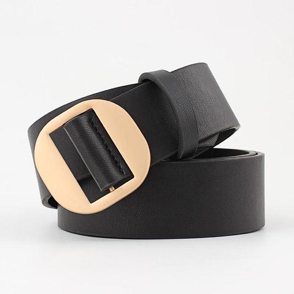 Multicolor round buckle non-porous women PU belt NHPO151804