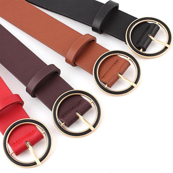 New round buckle black circle fashion women belts NHPO151805