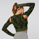 Camouflage Seamless Tight Long Sleeve Fitness Yoga Tshirt NHMA151769