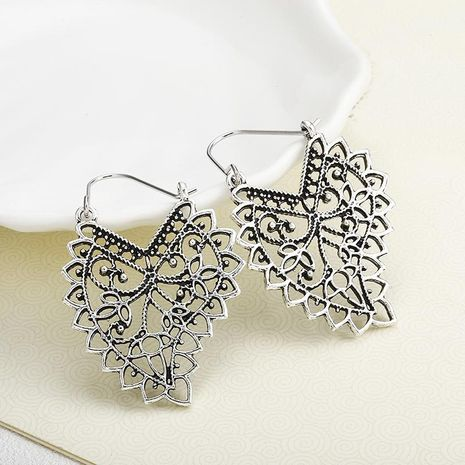 Ancient silver openwork pattern alloy hoop earrings NHPF151865's discount tags