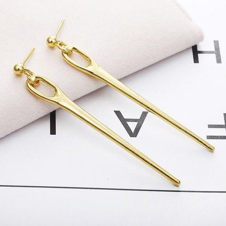 Gold vertical stripe streamlined long earrings NHPF151867's discount tags