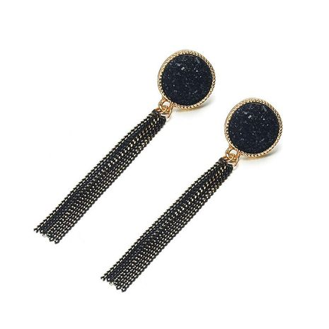 Black long tassel earrings NHPF151870's discount tags