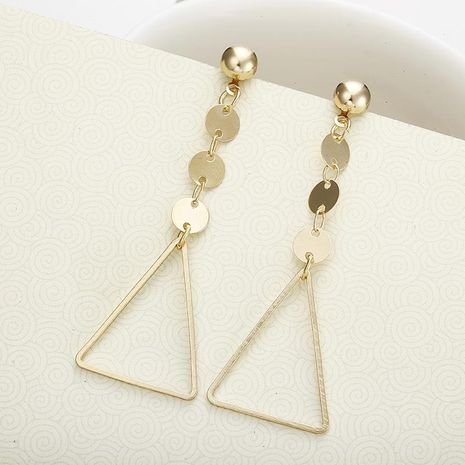 Golden Triangle Round Alloy Earrings NHPF151871's discount tags