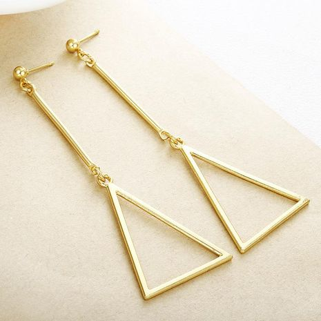 Fashion triangle fringed long openwork alloy earrings NHPF151872's discount tags