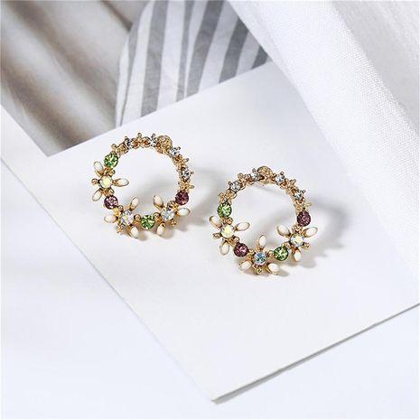 Garland drip circle flower stud earrings NHPF151874's discount tags