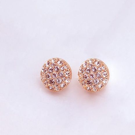 Fashion full diamond round stud earrings NHPF151877's discount tags